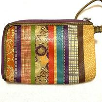 Fossil Leather Stripe Floral Multicolor Wristlet Small Clutch Wallet Photo