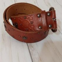 Fossil Leather Studded Tooled Belt Medium Brown Women's Western Cowgirl  Photo