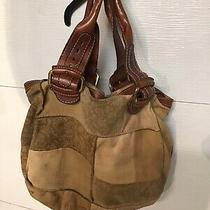 Fossil Leather & Suede Patchwork Extra Large Tote Hobo Slouch Shoulder Bag Vguc Photo