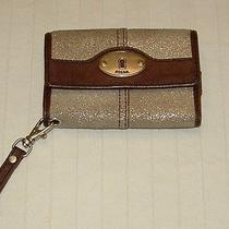 Fossil Leather Tri-Fold Wallet Wristlet Brown Silver Cell Phone Case Photo