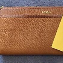 Fossil Leather Wallet Clutch New With Tags Multi Compartments Zip Closure Photo