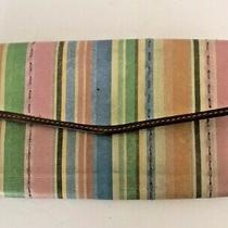 Fossil Leather Wallet Multi Color Pastel Stripes Pink Blue Green Checkbook Id  Photo
