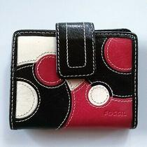 Fossil Leather Wallet Women's Trifold Black Pink White Polka Dots Photo