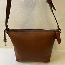 Fossil Leather Womens Brown Shoulder Crossbody Bucket Bag Purse Photo