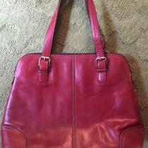 Fossil Leather Work Laptop Bag Dark Red Satchel Double Zip Dome Handbag Photo