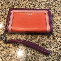 Fossil Leather Wristlet Colorblocked Purple Orange Pink Silver Hardware Purse  Photo