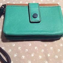 Fossil Leather Wristlet Teal Iphone Wallet Small Purse Nwot Photo