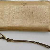 Fossil Leather Wristlet Wallet Clutch Purse Zip Around Gold Metallic Photo