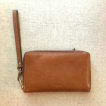 Fossil Leather Zip Around Clutch Wallet Wristlet Brown Euc Photo