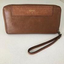 Fossil Leather Zip Around Clutch Wallet Wristlet - Unisex Photo