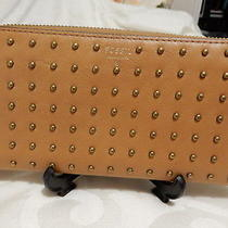 Fossil Leather Zip Around Sydney Studded Wallet Photo