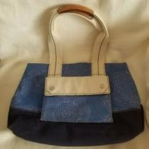 Fossil Lena Medium Canvas Tote  Blue & Navy  New W/out Tags  Nice Photo