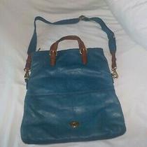 Fossil Lg Soft Turquoise Leather Foldover Crossbody Messenger Should Bag Purse Photo