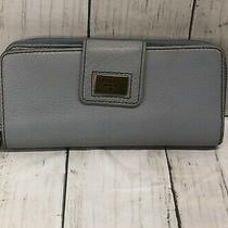 Fossil Light Blue Leather Zip Around Credit Cards Long Wallet Wristlet    J Photo