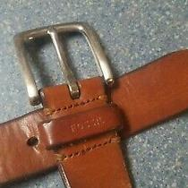 Fossil Light Brown Genuine Leather Belt With Buckle Size 36 Photo