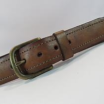 Fossil Light Brown Leather Belt Brass Buckle Size 36 290 Photo