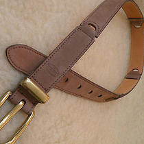 Fossil Light Brown Suede Leather Sectioned Belt Size Small  Gently Worn Brass Photo
