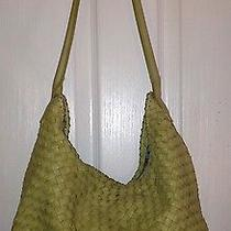 Fossil Light Green Leather Braided Tote Purse Authentic Photo