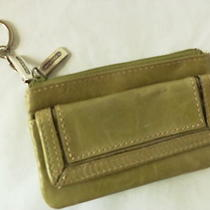 Fossil Light Green Leather Double Coin Purse Front & Center Pocket  Key Ring Photo