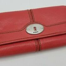 Fossil Light Red Leather Snap Clutch Wallet Cards Cash Coins Photo
