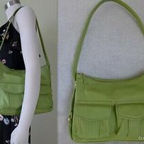 Fossil Lime Green Pebble Leather W/ Pockets One Strap Purse Shoulder Bag 75082 Photo