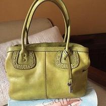 Fossil Lime / Olive Green Leather Satchel Doctor Dome Shopper Tote Handbag Photo