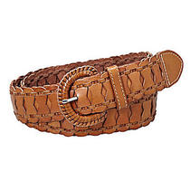Fossil Linked Woven Belt Tan M Medium Leather Tan Brown New Photo