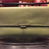 Fossil Lite Green Leather Wallet W/check Book Nice Photo