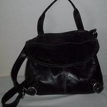 Fossil Lizette Black Leather & Canvas Messenger Cross Body Handbag Photo