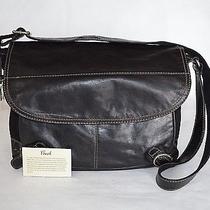 Fossil Lizette Messenger Crossbody Black Canvas Leather Travel Laptop Womens Bag Photo