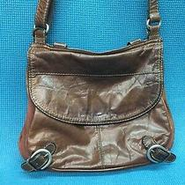 Fossil Lizette Messenger Dark Brown Leather Vintage Crossbody Quick Ship Photo