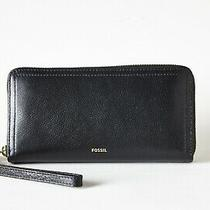 Fossil Logan Eco Leather Zip Around Clutch Wallet Black Photo