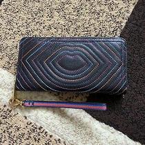 Fossil Logan Rfid Leather Wallet Black Multi Zip Around Photo
