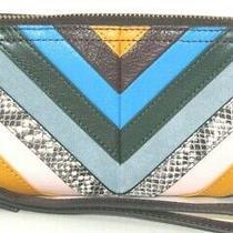 Fossil Logan Rfid Multi Patchwork Leather Zip Around Clutch Wallet Wristlet Nwt Photo