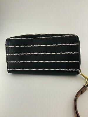 Fossil Logan RFID Zip Around Women's Leather Clutch - Black Photo