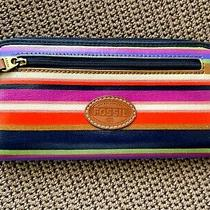 Fossil Long Live Coated-Striped-Zip Around-Rainbow Wallet/clutch Photo