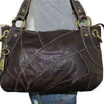 Fossil Long Live Lrg Brown Leather Shoulder Hobo Tote Satchel Slouch Purse Bag Photo