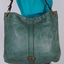 Fossil Long Live Lrg Green Brown Leather Shoulder Hobo Tote Satchel Purse Bag Photo