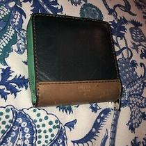 Fossil Long Live Vintage 1954 Bifold Leather Zip Snap Wallet Pastel Green Blue Photo