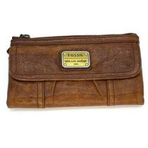 Fossil Long Live Vintage 1954 Brown Distressed Leather Wallet Clutch Photo