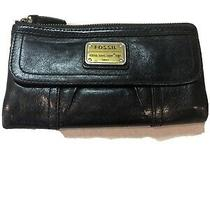 Fossil Long Live Vintage 1954 Emory Black Leather Bi-Fold Wallet Clutch Photo