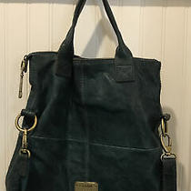 Fossil Long Live Vintage 1954 Teal Blue Leather Folded Messenger Crossbody Bag  Photo