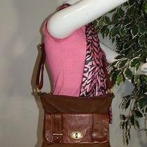 Fossil Long Live Vintage 2 Tone Brown Crossbody Shoulder Bag Tote Purse  Photo
