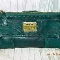 Fossil Long Live Vintage Aqua Green Pebbled Leather Wallet Purse Restored Gruc Photo