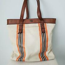 Fossil Long Live Vintage Beige Brown Striped Canvas Leather Shoulder Tote Large  Photo