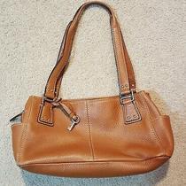 Fossil Long Live Vintage Brown Chestnut Pebbled Leather Shoulder Handbag Photo