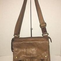 Fossil Long Live Vintage Brown Cognac Leather Cross-Body Bag W/personality Photo