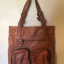 Fossil Long Live Vintage Large Brown Leather Tote Handbag Photo