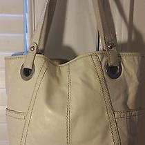 Fossil Long Live Vintage Off White Genuine Leather Hobo Hand Shoulder Bag Tote Photo