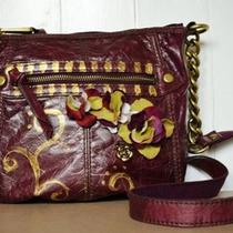 Fossil Long Live Vintage Purple Leather Floral Applique Chain Crossbody Bag Rare Photo